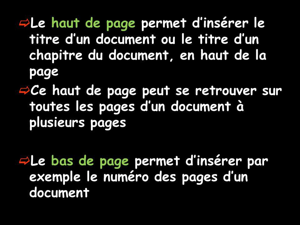  Le haut de page permet d'insérer le titre d'un document ou le titre d'un chapitre du document, en haut de la page  Ce haut de page peut se retrouve