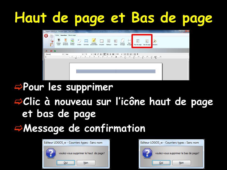 Haut de page et Bas de page  Pour les supprimer  Clic à nouveau sur l'icône haut de page et bas de page  Message de confirmation