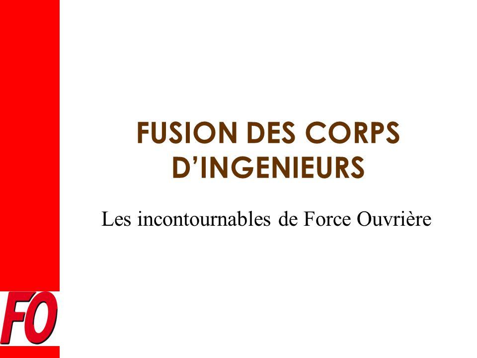 Les incontournables de Force Ouvrière FUSION DES CORPS D'INGENIEURS