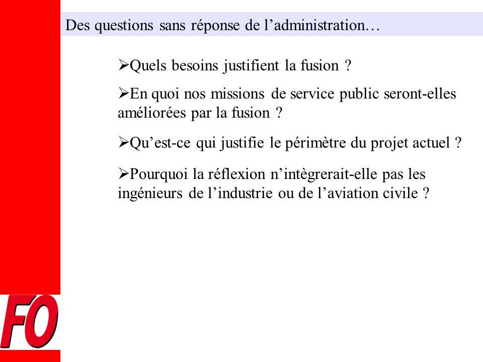 Des questions sans réponse de l'administration…  Quels besoins justifient la fusion .