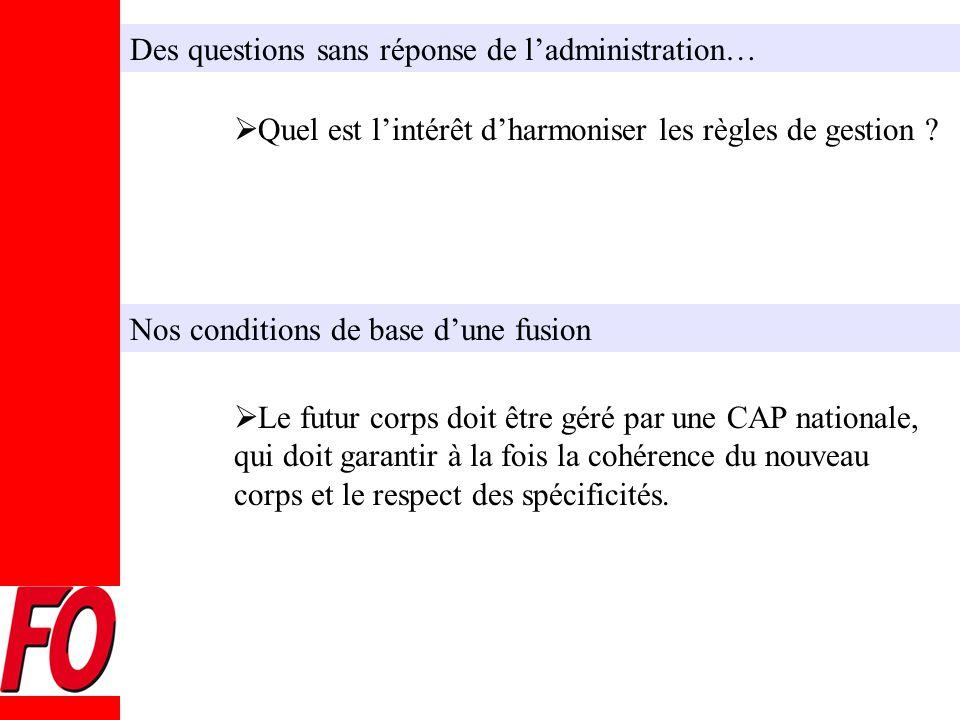 Des questions sans réponse de l'administration…  Quel est l'intérêt d'harmoniser les règles de gestion .