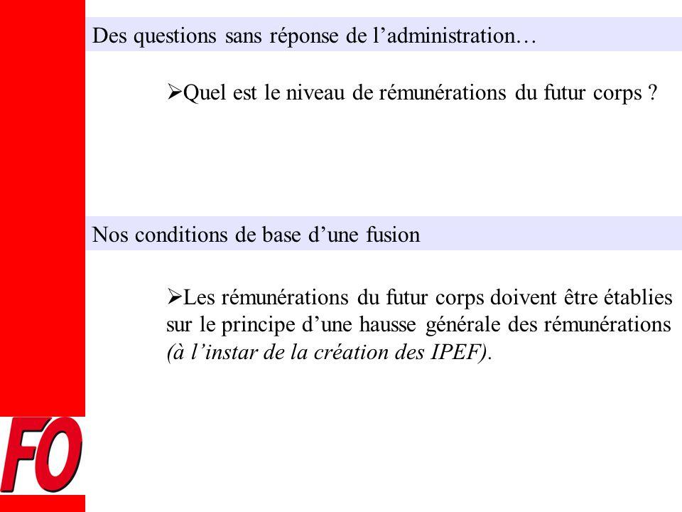 Des questions sans réponse de l'administration…  Quel est le niveau de rémunérations du futur corps .