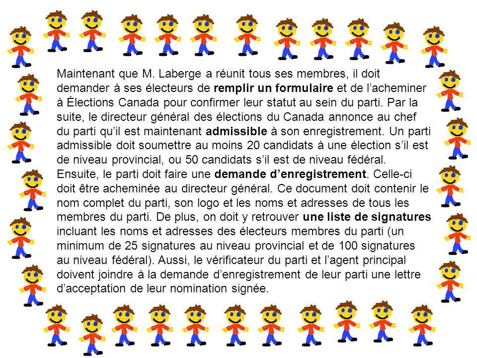 En second lieu, si Ferdinand choisit de former un parti politique au niveau provincial ou fédéral, il doit faire appel à d'autres citoyens qui, comme lui, ont leur citoyenneté canadienne ou sont résidents permanents au Canada.