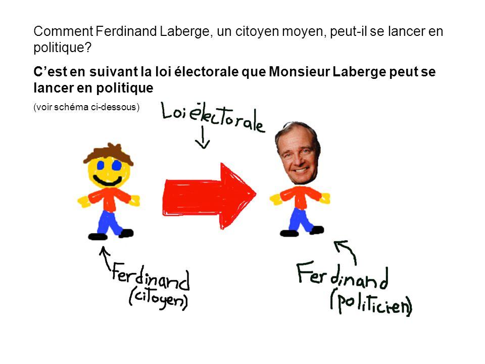 Comment Ferdinand Laberge, un citoyen moyen, peut-il se lancer en politique.