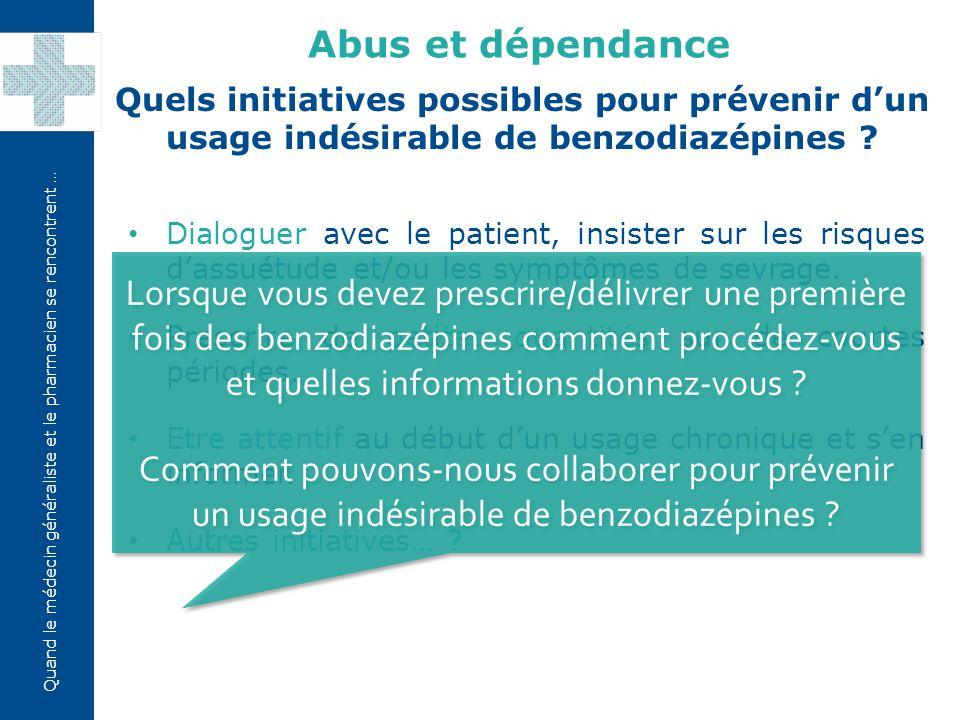 Quand le médecin généraliste et le pharmacien se rencontrent … Dialoguer avec le patient, insister sur les risques d'assuétude et/ou les symptômes de