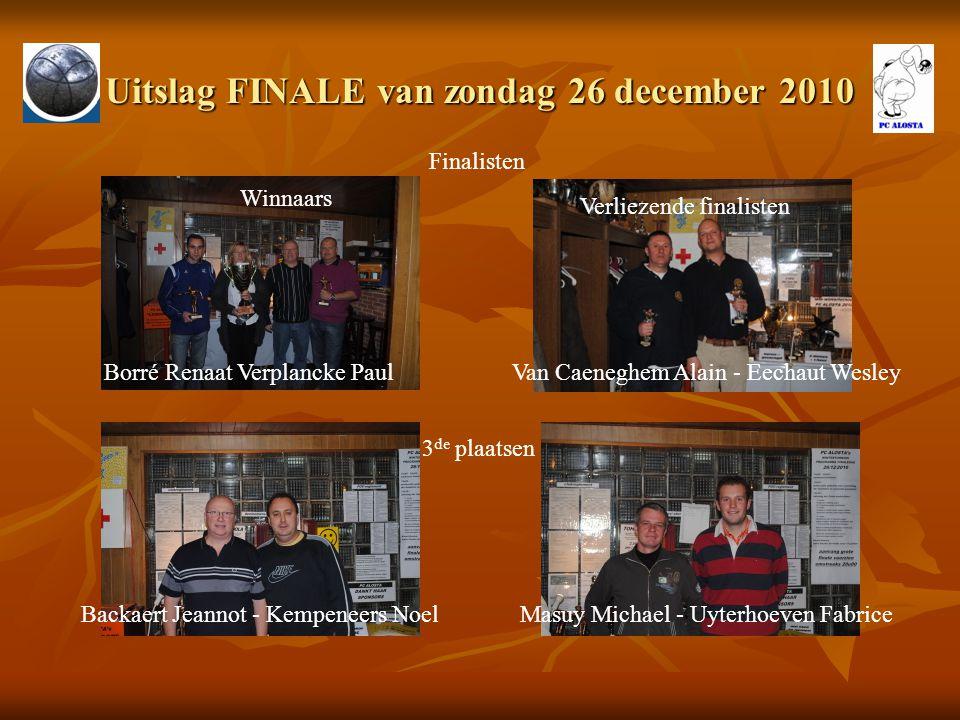 Uitslag FINALE van zondag 26 december 2010 Finalisten Borré Renaat Verplancke Paul Winnaars Verliezende finalisten Van Caeneghem Alain - Eechaut Wesle