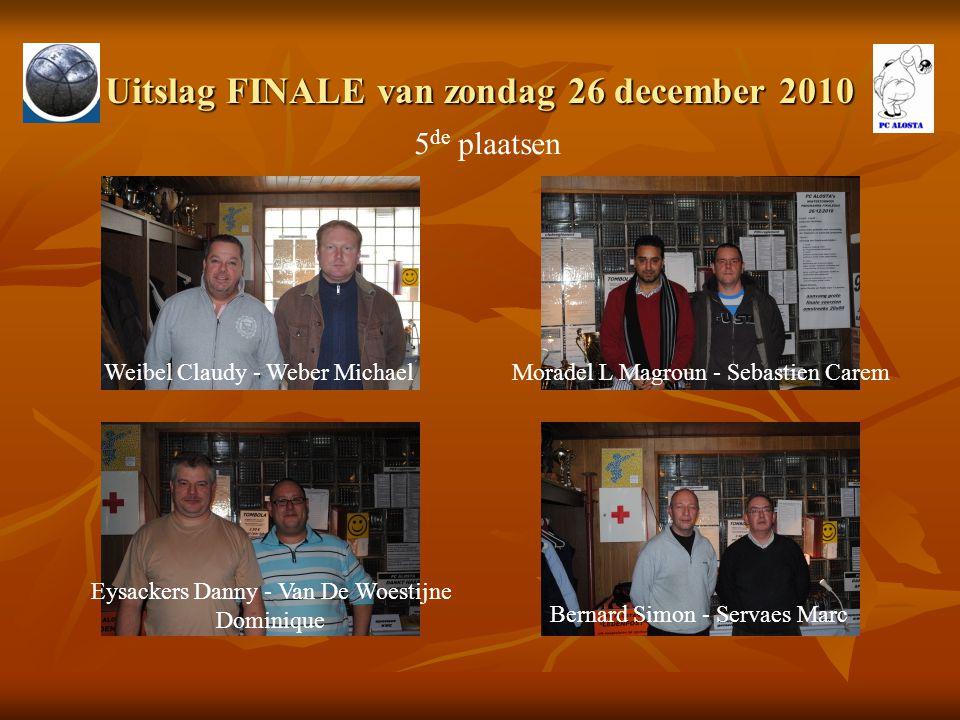 Uitslag FINALE van zondag 26 december 2010 5 de plaatsen Weibel Claudy - Weber MichaelMoradel L Magroun - Sebastien Carem Eysackers Danny - Van De Woe