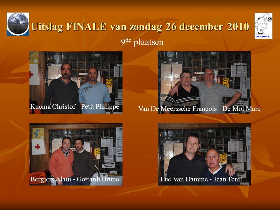 Uitslag FINALE van zondag 26 december 2010 9 de plaatsen Kucma Christof - Petit Philippe Van De Meerssche Francois - De Mol Marc Bergiers Alain - Gott