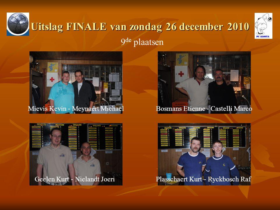 Uitslag FINALE van zondag 26 december 2010 9 de plaatsen Mievis Kevin - Meynaert MichaëlBosmans Etienne - Castelli Marco Geelen Kurt - Nielandt JoeriP