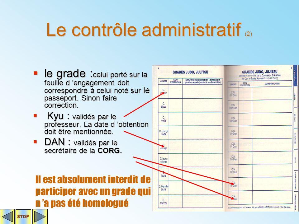 Le contrôle administratif (2)  le grade : celui porté sur la feuille d 'engagement doit correspondre à celui noté sur le passeport. Sinon faire corre