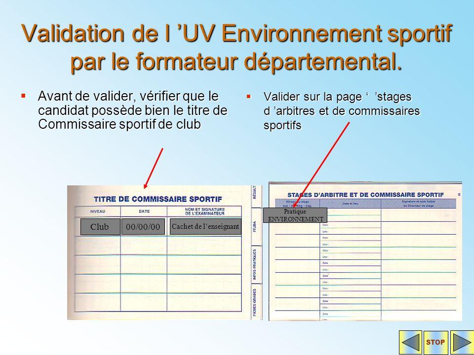 Validation de l 'UV Environnement sportif par le formateur départemental.  Avant de valider, vérifier que le candidat possède bien le titre de Commis