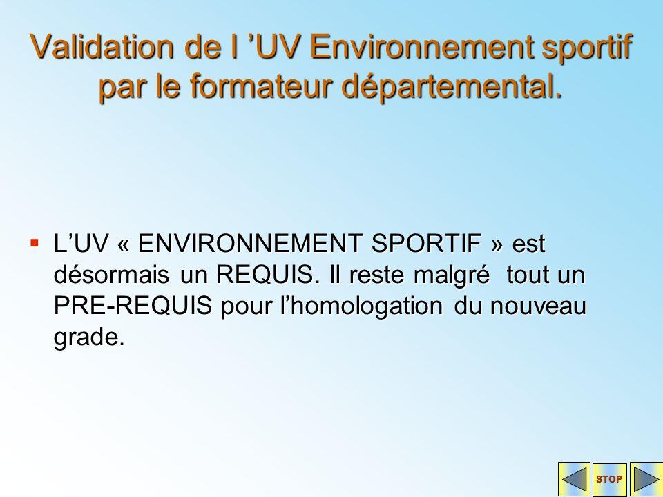 Validation de l 'UV Environnement sportif par le formateur départemental.  L'UV « ENVIRONNEMENT SPORTIF » est désormais un REQUIS. Il reste malgré to