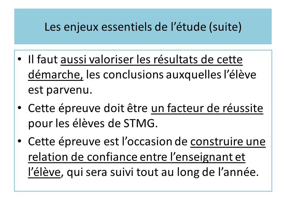 Les enjeux essentiels de l'étude (suite) Il faut aussi valoriser les résultats de cette démarche, les conclusions auxquelles l'élève est parvenu. Cett