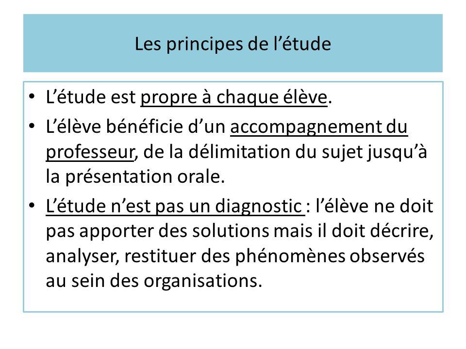 Les principes de l'étude L'étude est propre à chaque élève. L'élève bénéficie d'un accompagnement du professeur, de la délimitation du sujet jusqu'à l