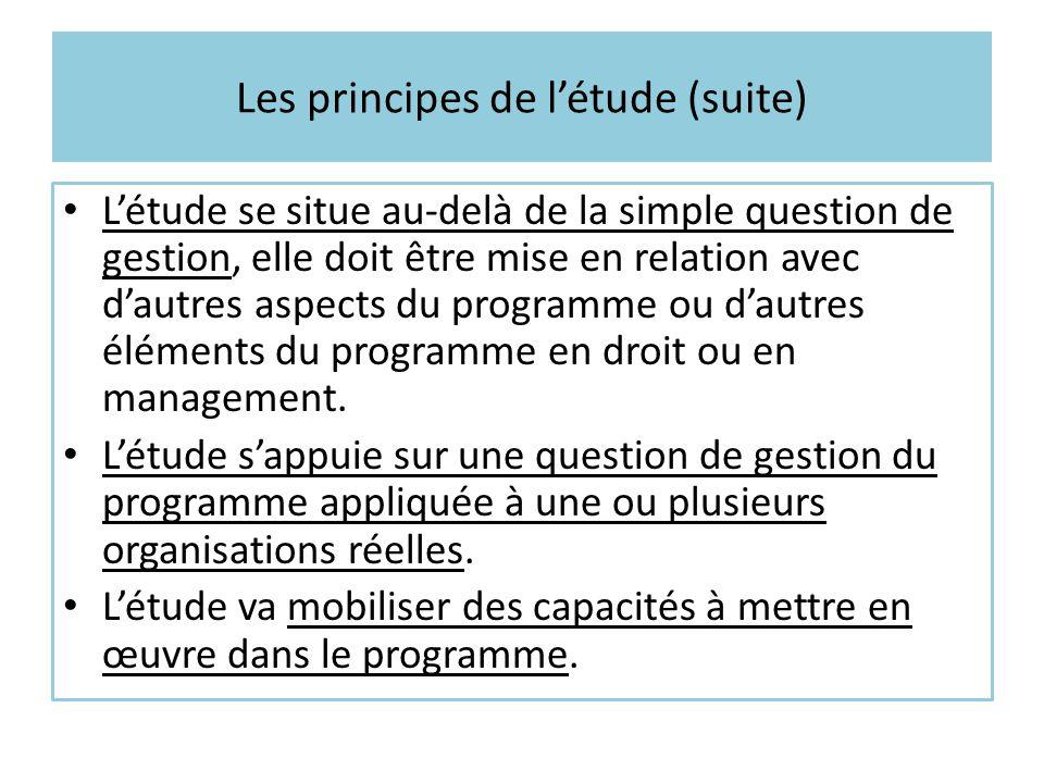 Les principes de l'étude (suite) L'étude se situe au-delà de la simple question de gestion, elle doit être mise en relation avec d'autres aspects du p
