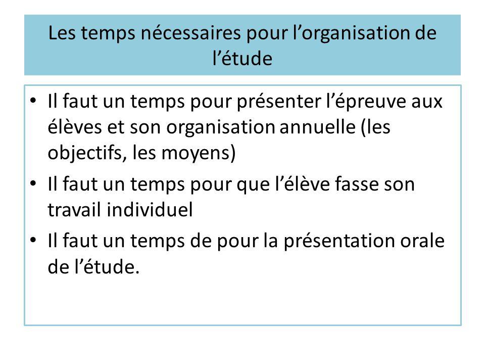 Les temps nécessaires pour l'organisation de l'étude Il faut un temps pour présenter l'épreuve aux élèves et son organisation annuelle (les objectifs,