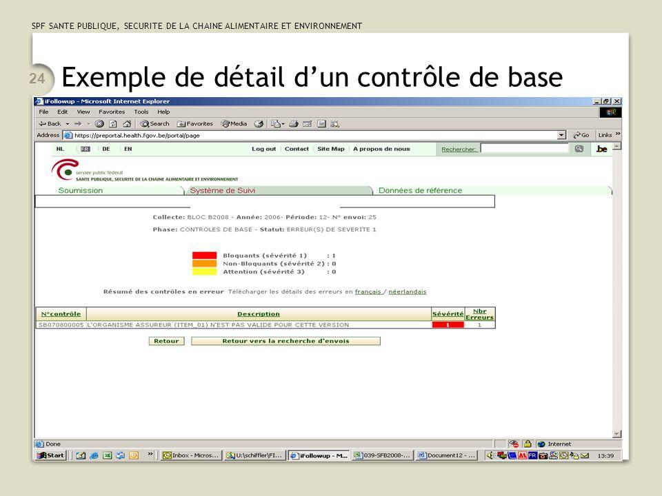SPF SANTE PUBLIQUE, SECURITE DE LA CHAINE ALIMENTAIRE ET ENVIRONNEMENT 24 Exemple de détail d'un contrôle de base