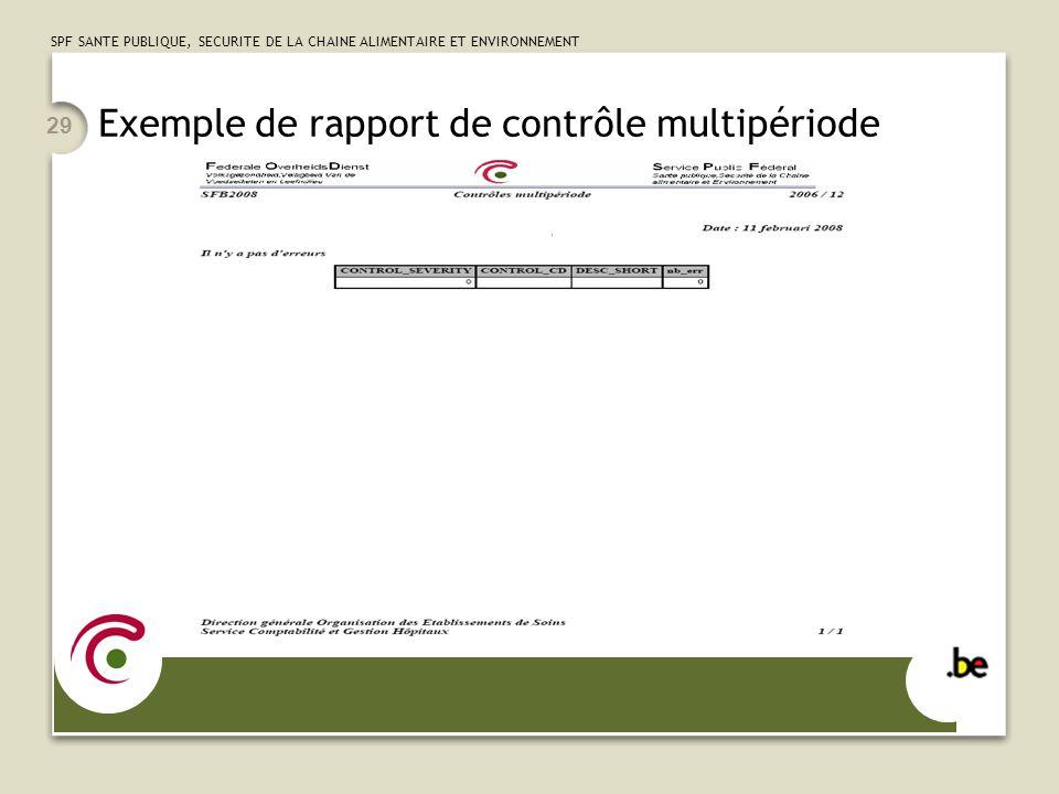 SPF SANTE PUBLIQUE, SECURITE DE LA CHAINE ALIMENTAIRE ET ENVIRONNEMENT 29 Exemple de rapport de contrôle multipériode