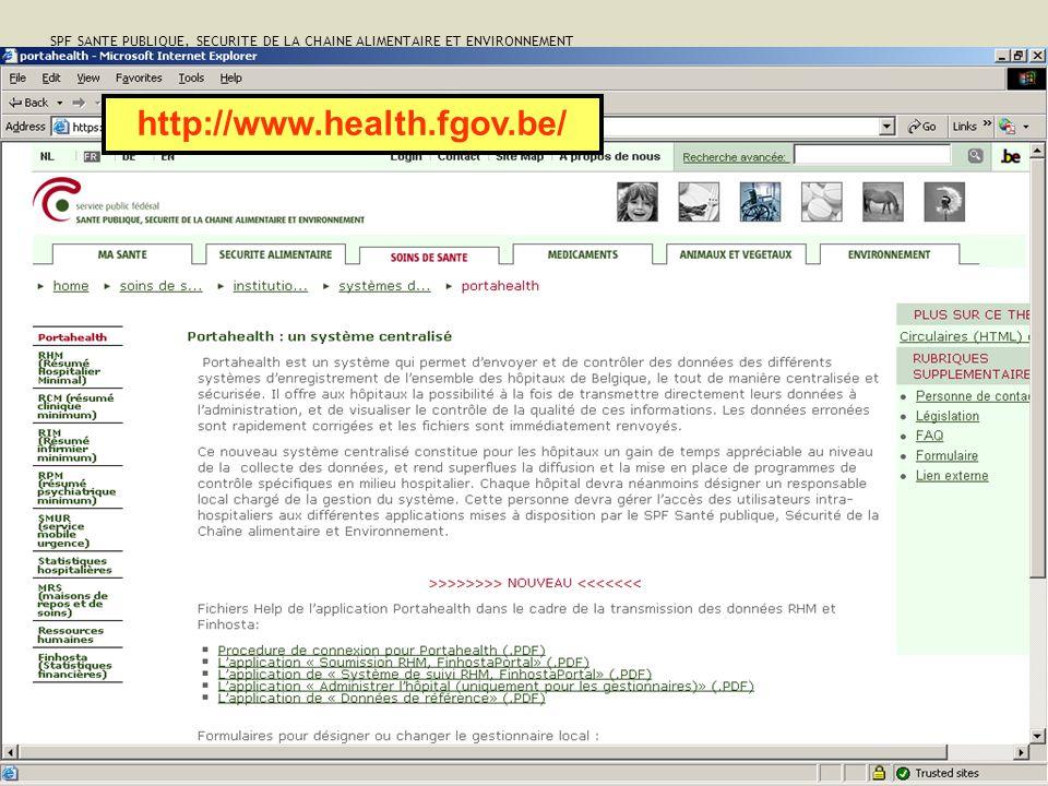 SPF SANTE PUBLIQUE, SECURITE DE LA CHAINE ALIMENTAIRE ET ENVIRONNEMENT 34 http://www.health.fgov.be/