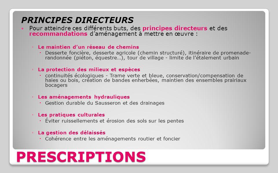 PRINCIPES DIRECTEURS Pour atteindre ces différents buts, des principes directeurs et des recommandations d'aménagement à mettre en œuvre : ◦Le maintie