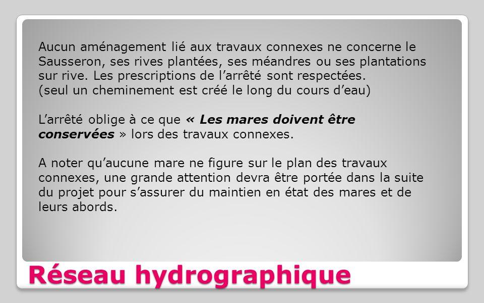 Réseau hydrographique Aucun aménagement lié aux travaux connexes ne concerne le Sausseron, ses rives plantées, ses méandres ou ses plantations sur riv