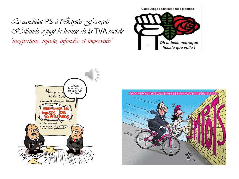 Le candidat PS à l Élysée François Hollande a jugé la hausse de la TVA sociale inopportune, injuste, infondée et improvisée