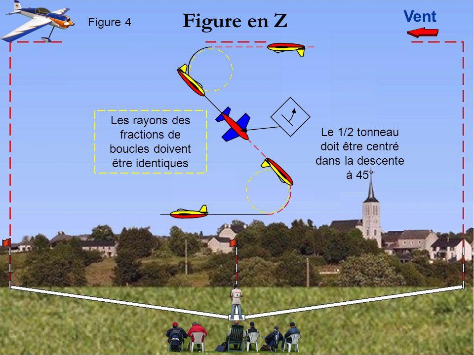 Vent Figure en Z Figure 4 Le 1/2 tonneau doit être centré dans la descente à 45° Les rayons des fractions de boucles doivent être identiques