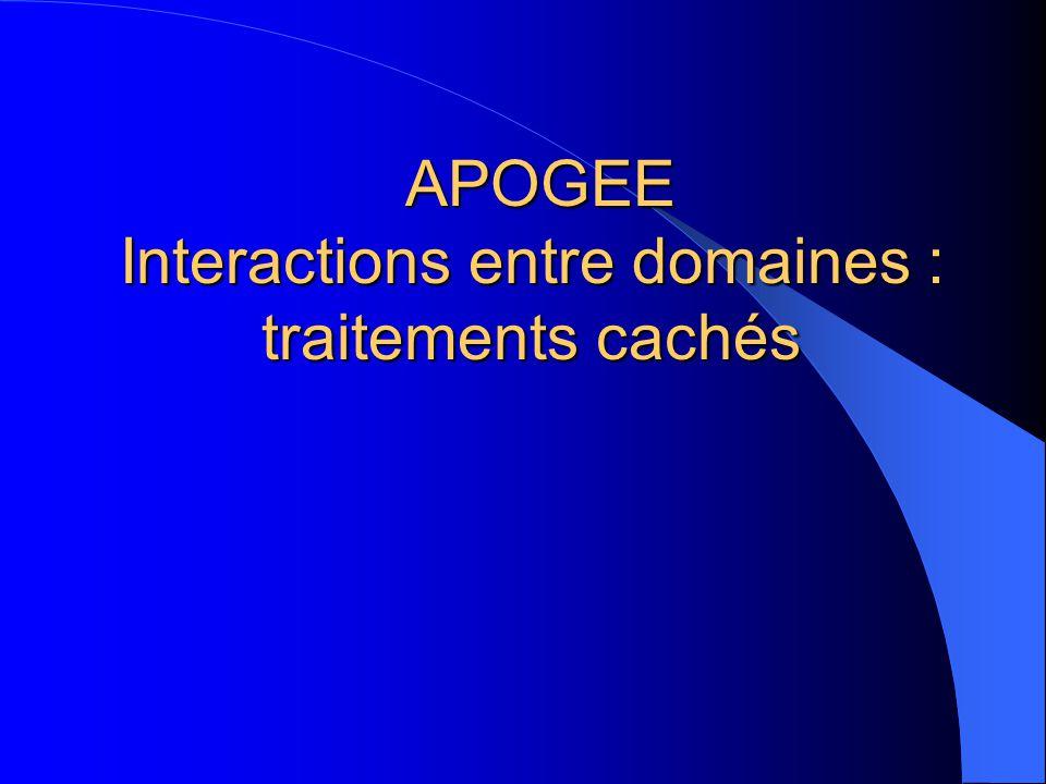 APOGEE Interactions entre domaines : traitements cachés APOGEE Interactions entre domaines : traitements cachés