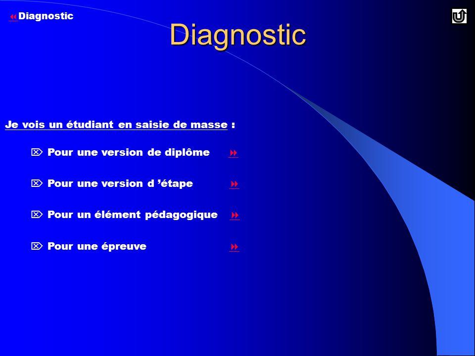 Diagnostic  Pour une version de diplôme    Pour une version d 'étape    Pour un élément pédagogique    Pour une épreuve   Je vois un étudiant en saisie de masse :   Diagnostic