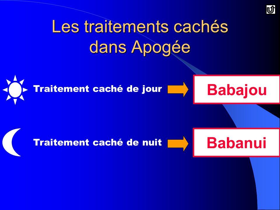 Les traitements cachés dans Apogée BabajouBabanui Traitement caché de jourTraitement caché de nuit