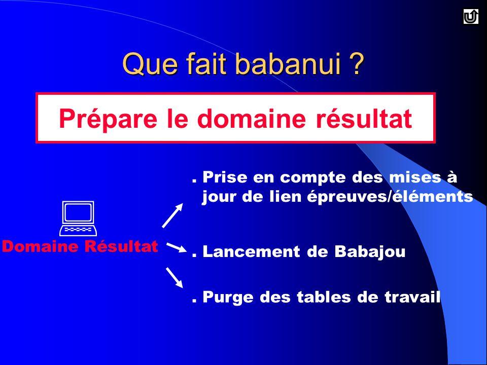 Que fait babanui . Domaine Résultat Prépare le domaine résultat.