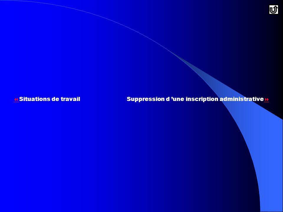   Situations de travailSuppression d 'une inscription administrative  