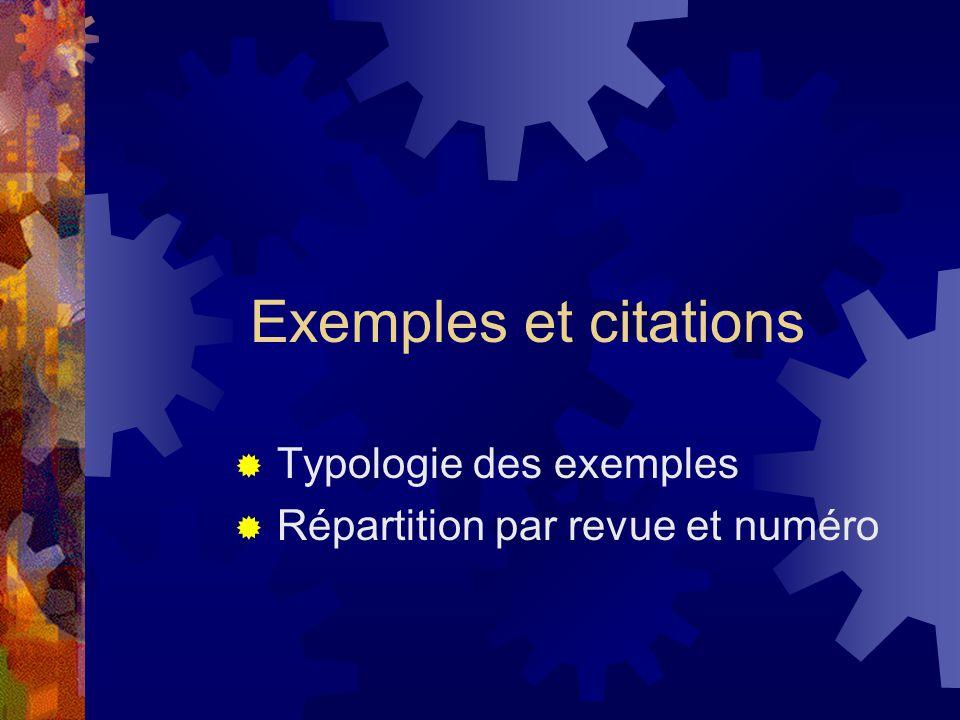 Exemples et citations  Typologie des exemples  Répartition par revue et numéro