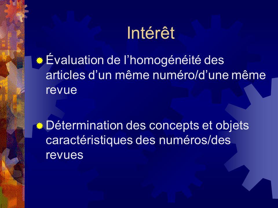 Intérêt  Évaluation de l'homogénéité des articles d'un même numéro/d'une même revue  Détermination des concepts et objets caractéristiques des numéros/des revues