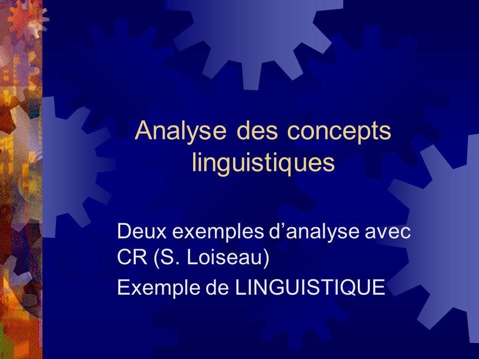 Analyse des concepts linguistiques Deux exemples d'analyse avec CR (S.