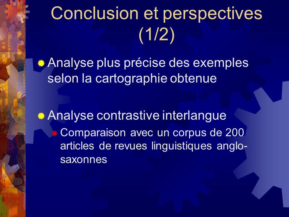 Conclusion et perspectives (1/2)  Analyse plus précise des exemples selon la cartographie obtenue  Analyse contrastive interlangue  Comparaison avec un corpus de 200 articles de revues linguistiques anglo- saxonnes