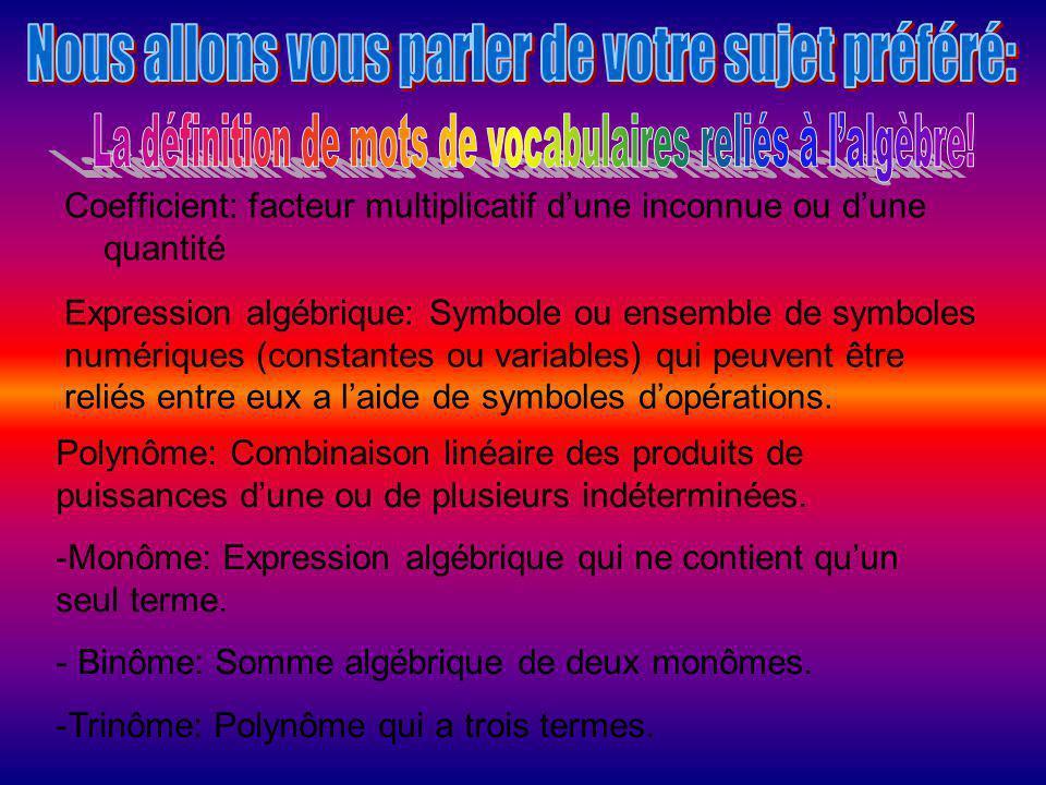 Coefficient: facteur multiplicatif d'une inconnue ou d'une quantité Expression algébrique: Symbole ou ensemble de symboles numériques (constantes ou v