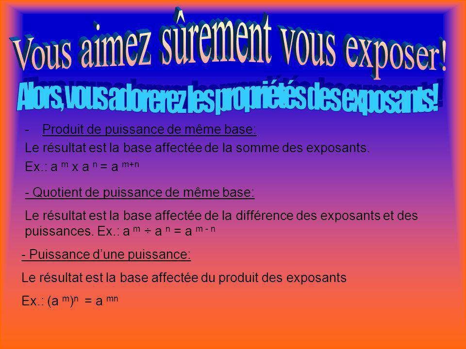 -P-Produit de puissance de même base: Le résultat est la base affectée de la somme des exposants. Ex.: a m x a n = a m+n - Quotient de puissance de mê