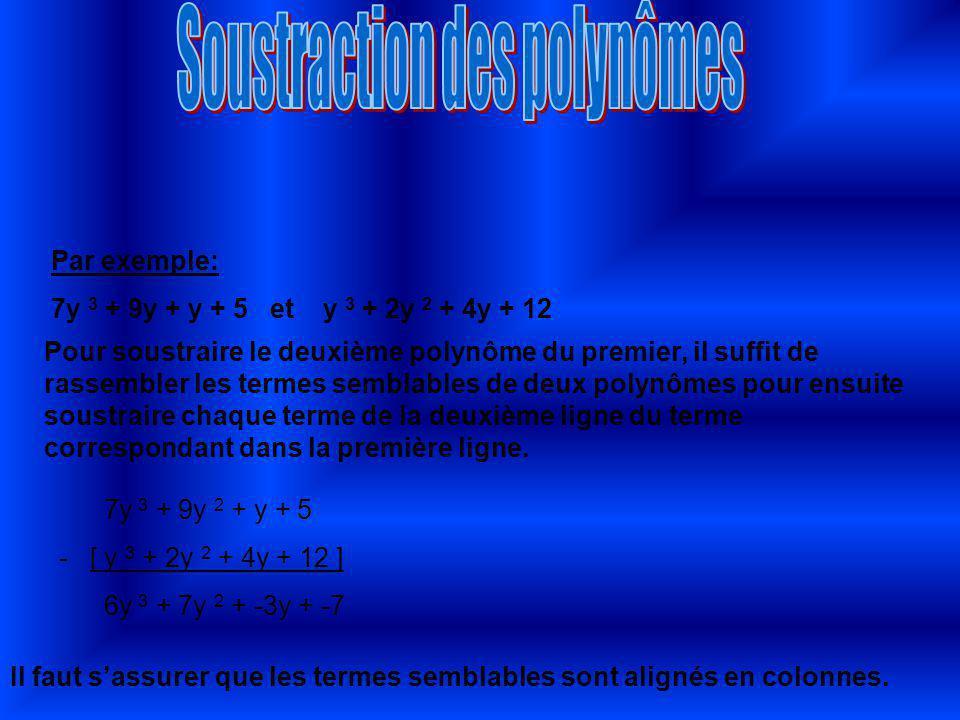 Exemples de multiplication de polynômes: 3 (2x + 1) = 6x + 3 7 (2y + 2w) = 14y + 14w ( 6x+9y) par3 = 2x + 3y (14t+49o) par 7 = 2t + 7o Exemple de division de polynôme: