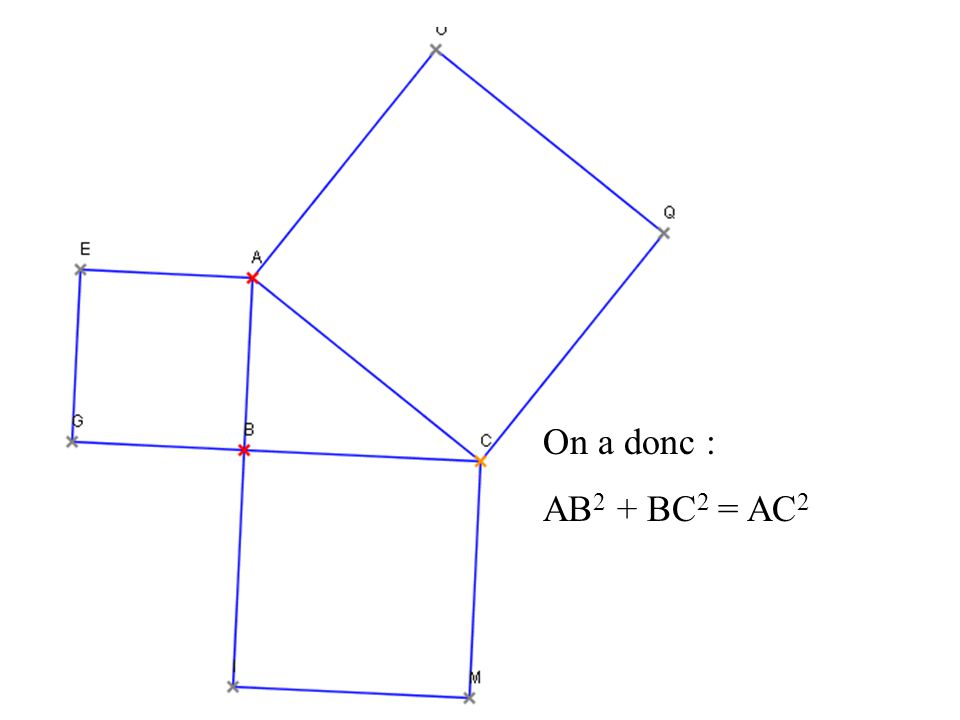 On a donc : AB 2 + BC 2 = AC 2