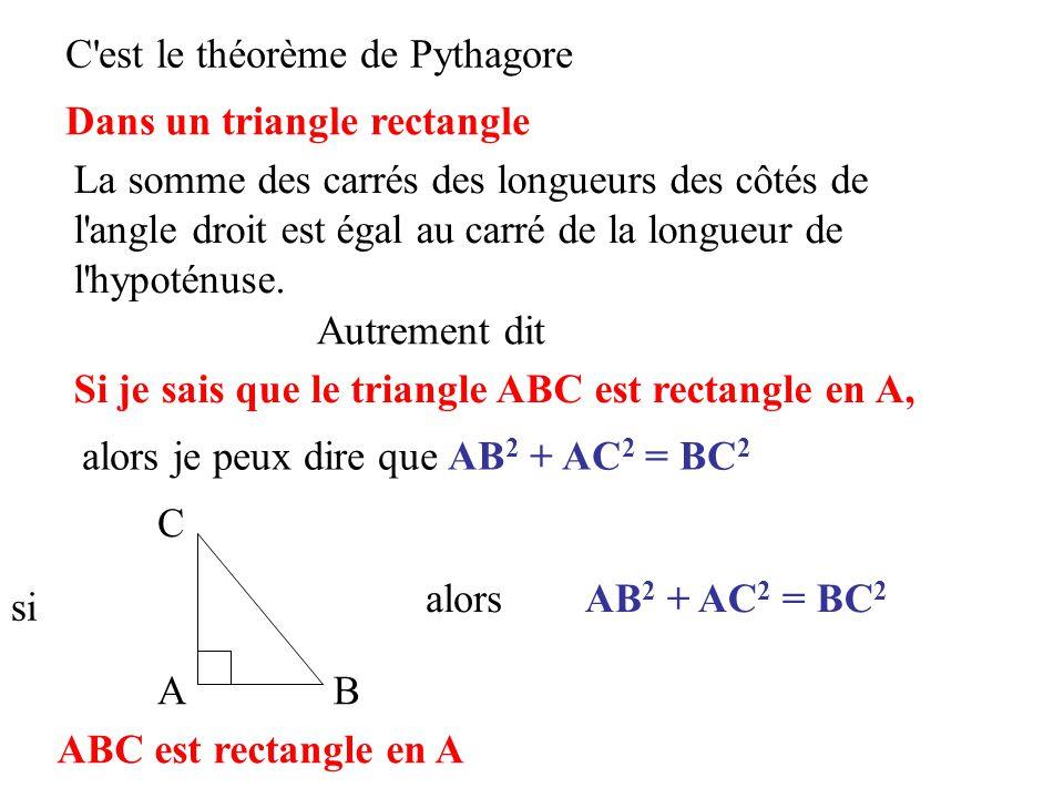 Tous les triangles suivants sont rectangles, écrivez l égalité obtenue en appliquant le théorème de Pythagore SOC est rectangle en C MIK est rectangle en I ANG est rectangle en G LOU est rectangle en O SAM est rectangle en S ALE est rectangle en A YOA est rectangle en Y JUL est rectangle en J donc CS 2 + CO 2 = SO 2 donc MI 2 + IK 2 = MK 2 donc GA 2 + GN 2 = AN 2 donc OL 2 + OU 2 = LU 2 donc AS 2 + SM 2 = AM 2 donc AL 2 + AE 2 = LE 2 donc YO 2 + YA 2 = AO 2 donc JU 2 + JL 2 = UL 2