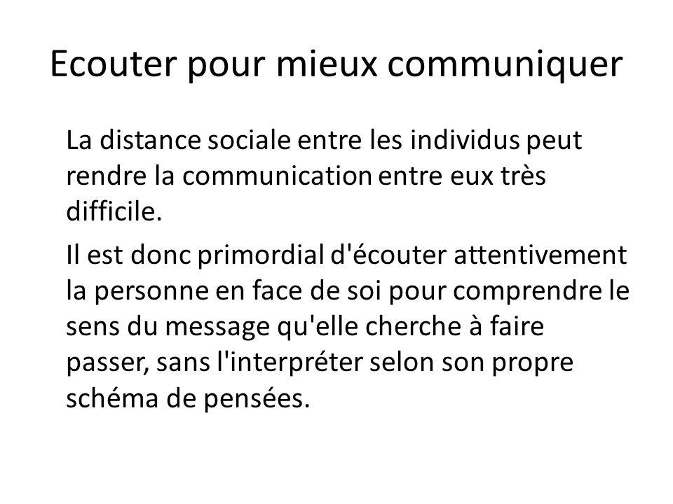 Ecouter pour mieux communiquer La distance sociale entre les individus peut rendre la communication entre eux très difficile. Il est donc primordial d