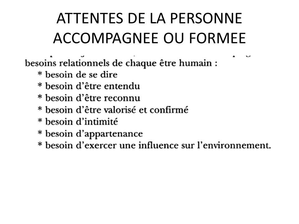 ATTENTES DE LA PERSONNE ACCOMPAGNEE OU FORMEE