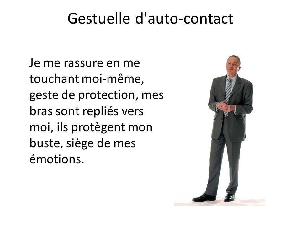 Gestuelle d auto-contact Se frotter les mains (au fur et à mesure elles deviennent serrées) = auto-contact et fermeture : le sujet est clos – pressé d'en finir.
