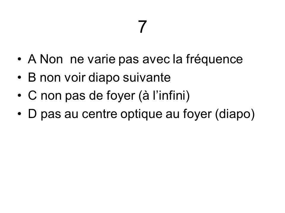 7 A Non ne varie pas avec la fréquence B non voir diapo suivante C non pas de foyer (à l'infini) D pas au centre optique au foyer (diapo)
