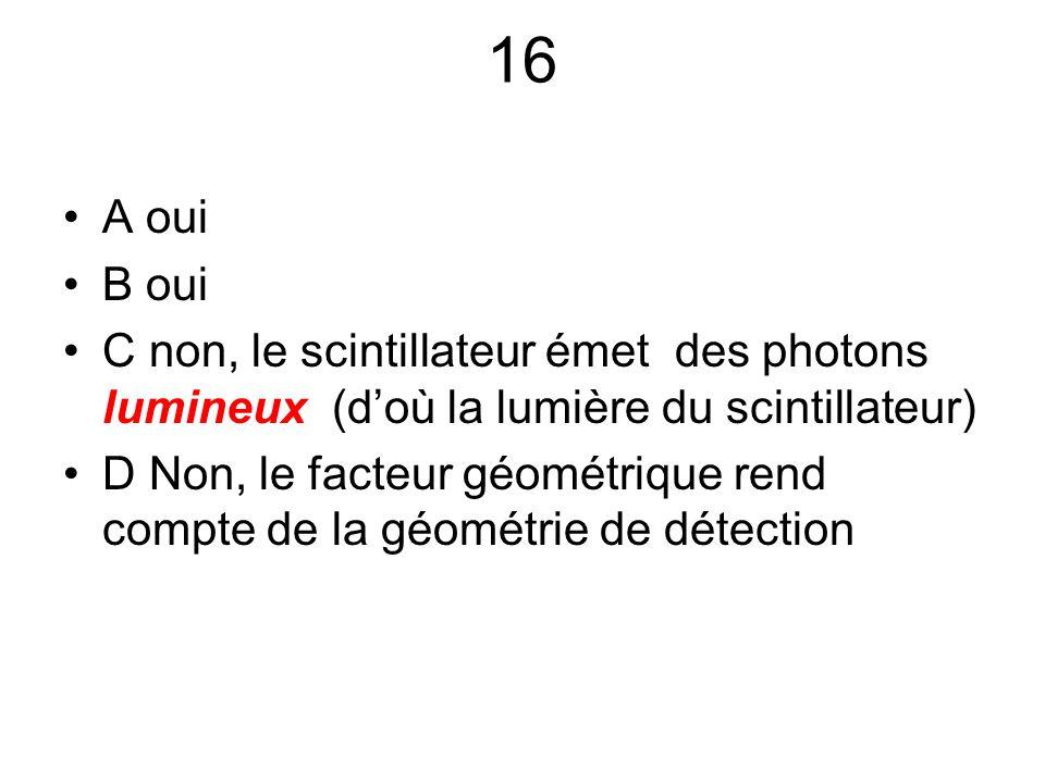 16 A oui B oui C non, le scintillateur émet des photons lumineux (d'où la lumière du scintillateur) D Non, le facteur géométrique rend compte de la gé
