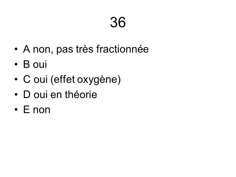 36 A non, pas très fractionnée B oui C oui (effet oxygène) D oui en théorie E non
