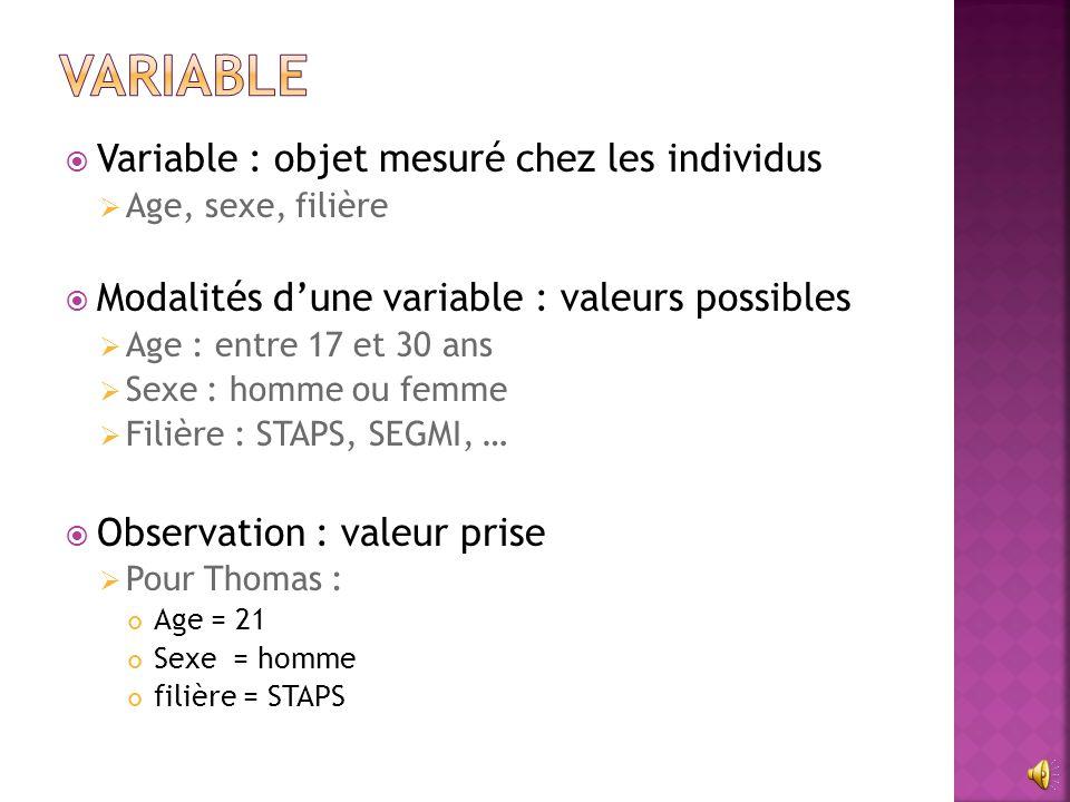  Variable : objet mesuré chez les individus  Age, sexe, filière  Modalités d'une variable : valeurs possibles  Age : entre 17 et 30 ans  Sexe : h