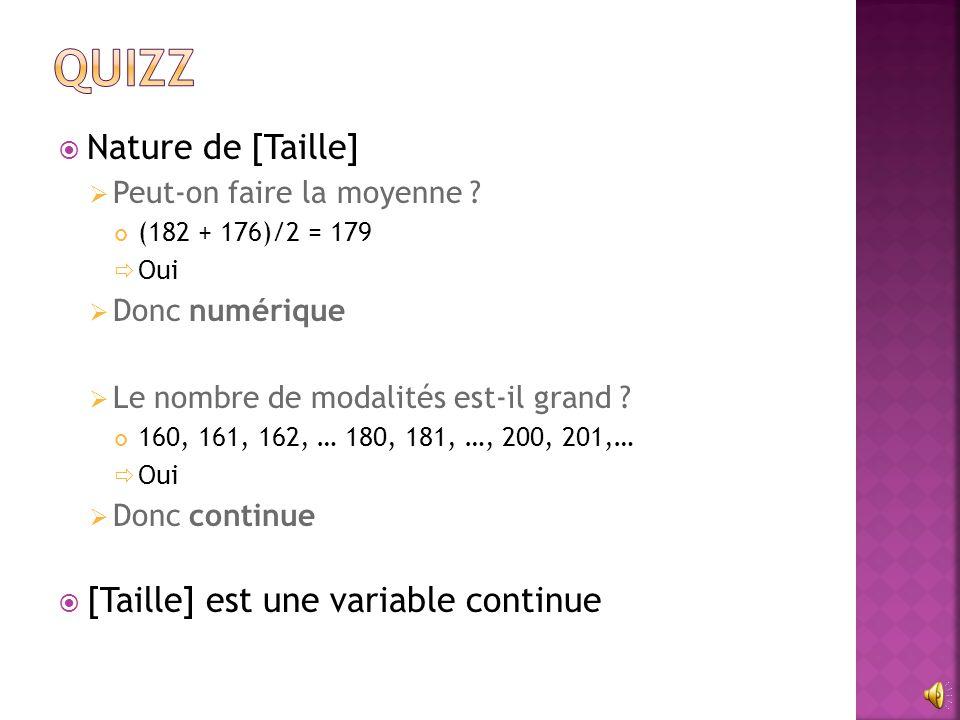  Nature de [Taille]  Peut-on faire la moyenne ? (182 + 176)/2 = 179  Oui  Donc numérique  Le nombre de modalités est-il grand ? 160, 161, 162, …