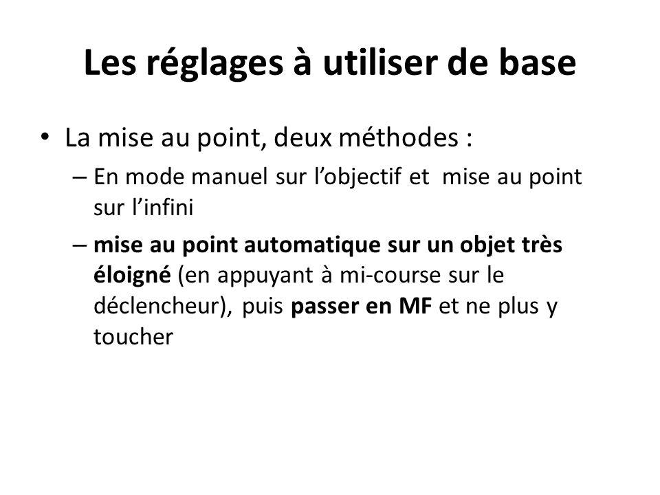 Les réglages à utiliser de base La mise au point, deux méthodes : – En mode manuel sur l'objectif et mise au point sur l'infini – mise au point automa